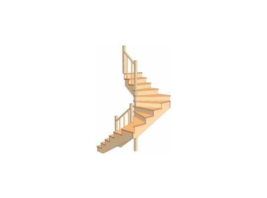 С разворотом на 180 градусов с забежными ступенями 3.1.2.4